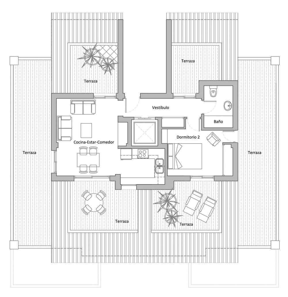 Plano apartamentos tubalitas paloma beach-1-dormitorio